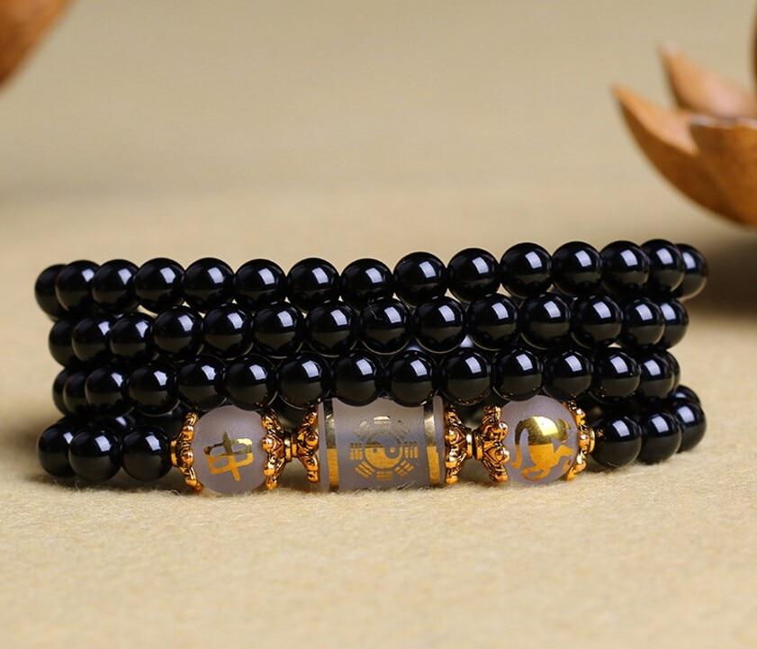 Drop Shipping New Style Synthetic Crystal Bracelet 108 Beads Obsidian Jewelry Bracelet