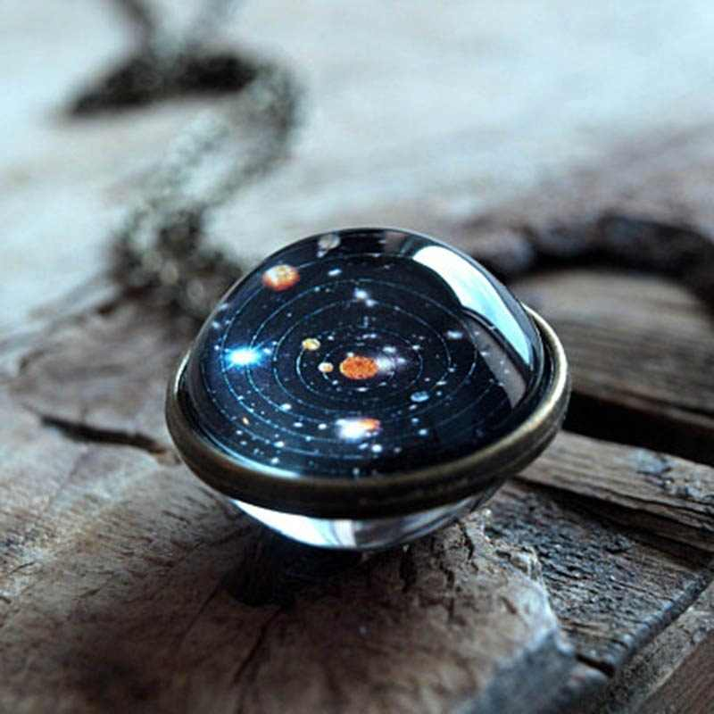 Solar System Necklace Pendant Planet Collares Galaxy Double Sided Glass Dome Glass Universe Sieraden Custom Star Boho Collane