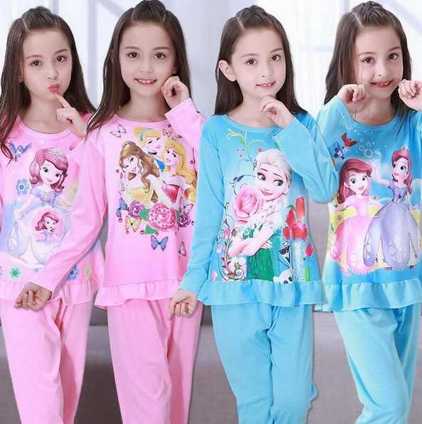 Children Pajamas Kids long Sleeve Cartoon home clothes Girl sleepwear Suit Lovely Child Garment baby Homewear for spring YW352