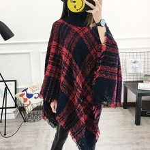 Autumn Casual 13 Colors Women Turtleneck Tassel Cape Knit Poncho Batwing Sleeve Free Size Wool Plaid Cardigan batwing sleeve wool cape coat