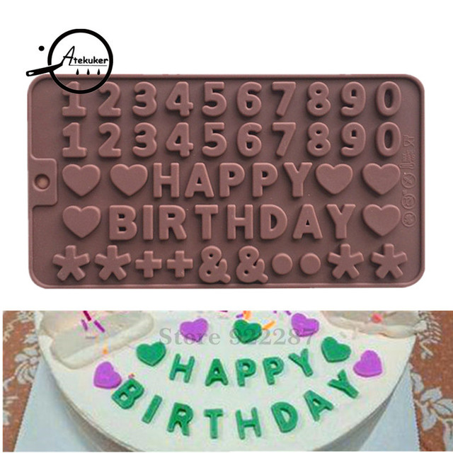 Atekuker 2111505cm Letters Numbers Silicone Chocolate Mold Happy