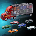 12pcs/set Kids Toys Model Toy Car Set Pull Back 1pcs Large Container Truck + 12pcs Small Alloy Cars Random Color