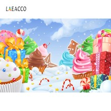 Laeacco Cake Ice Cream Gifts Sweet Clouds Candyland Photography Backgrounds Customized Photographic Backdrops For Photo Studio(China)