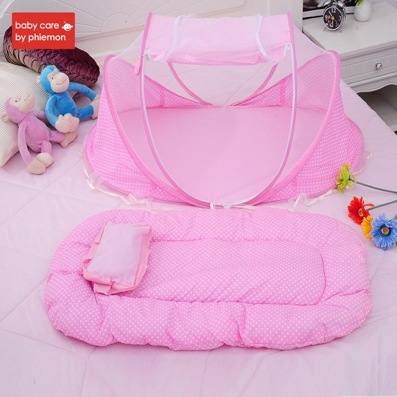 Babycare 3pcs Portable Baby Bed Crib Folding Baby Mosquito Net Summer Infants Insect Netting Cushion Mattress Baby Mosquito