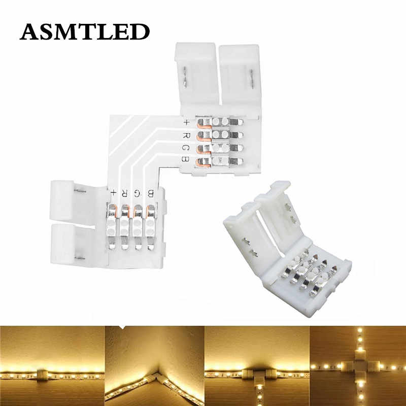 LED Strip Connector 2pin 4pin 8mm 10mm 12mm L / T / X Shape Free Welding Connector Solderless Clip-on Coupler Connector 5pcs/lot