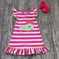 Baby Girls Summer Dress Clothing Girls Whale Dress Children Girls Hot Pink Stripes Dress Summer Dress