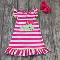 Baby Girls Summer Dress Clothing Girls Whale Dress Children Girls Hot Pink Stripes Dress Summer Dress