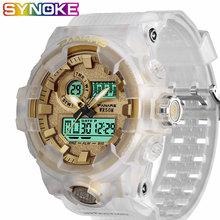 SYNOKE męskie zegarki cyfrowe sport podwójny ruch wodoodporne męskie zegarki na rękę Luminous Running Seconds budziki dla mężczyzn tanie tanio Cyfrowe Zegarki Na Rękę Cyfrowy Z tworzywa sztucznego Klamra 5Bar Stoper Wyświetlacz led Repeater Chronograph Odporne na wodę