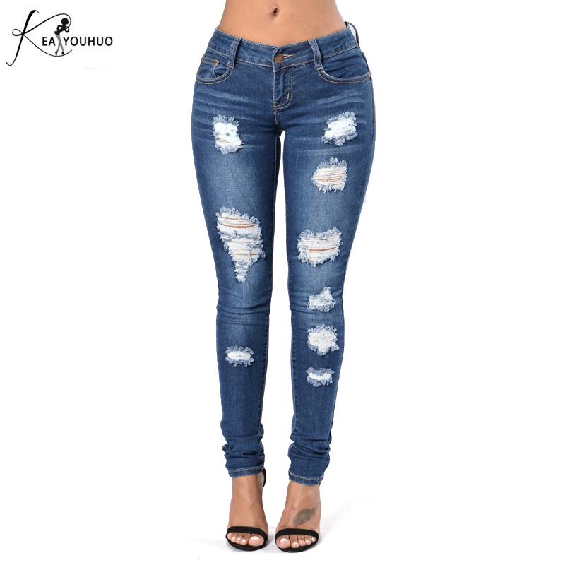 Ripped Jeans For Women Skinny High Waist Boyfriend Denim Jeans For Female Trousers 2017 Jeans Woman Ladies Cotton Denim Pants