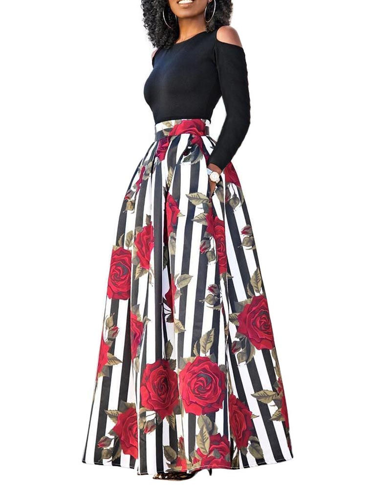 Hitmebox 2018 New Fashion Womens Off the Cold Shoulder Top Shirts +High Waist Floral Print Cocktail Party Long Maxi Skirts 2PCS