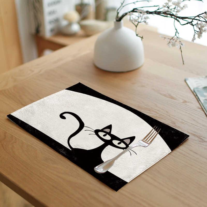 Divertido y cambiable gran cabeza gato comida tela 42*32 CM letras lindas y cálidas Frontal Retro Lino mantel para el hogar Decoración