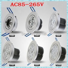 1pc LED Ceiling light 1W3W5W7W9W12W AC85-265V Down light Recessed LED Wall lamp Spot light With LED Driver For Home Lighting