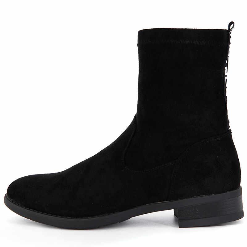 Xiuteng 2019 Kadın Kare Düşük Topuk yarım çizmeler Toynak Topuklar Kış Ayakkabı Yuvarlak Ayak Seksi Elastik Kumaş Kadın Çizmeler Boyutu 35 40