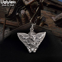Uglyless Real 925 Sterling Silver Handmade Hinduism Men Eagle God Pendant without Necklace Vulcanized Thai Silver Fine Jewelry