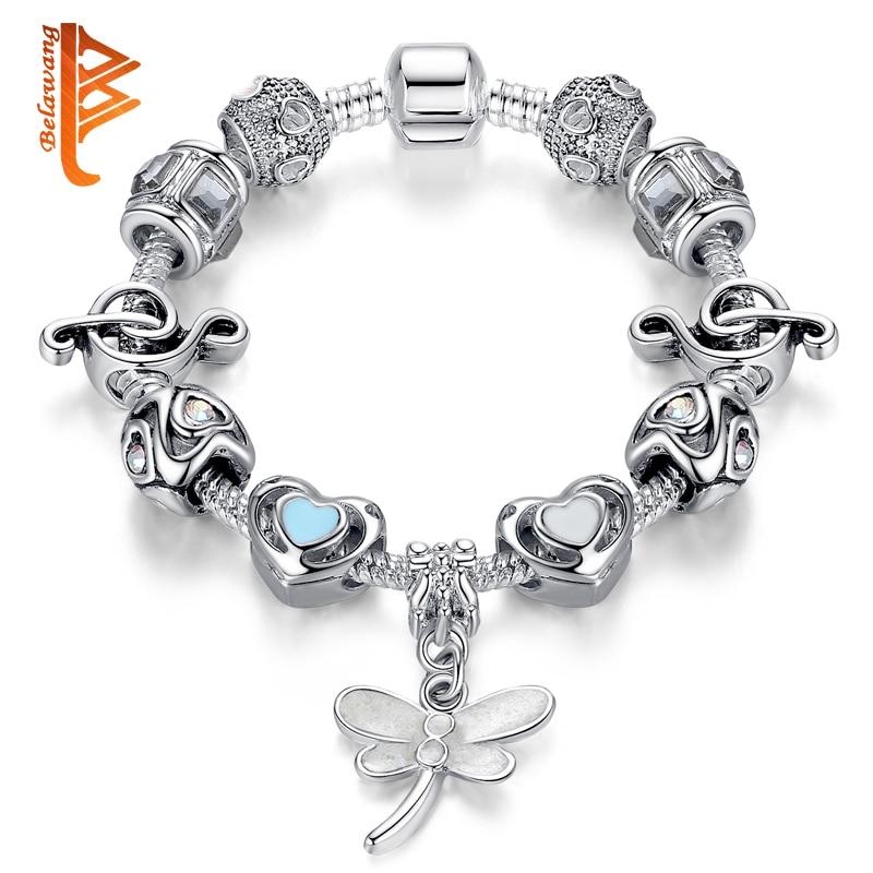 ae65585aacf5 BELAWANG mujeres elegantes pulsera moda Color plata Pulseras hechas a mano  cuentas de cristal mariposa encanto Pulseras regalo