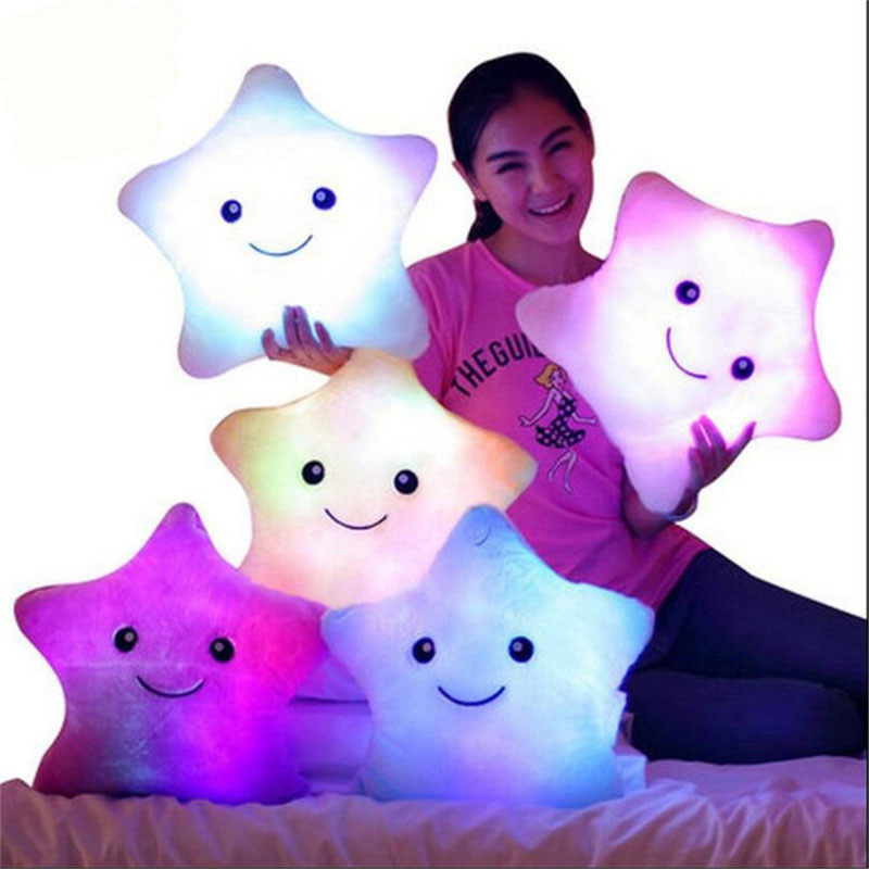 Hot Creative Light Up LED Star Luminous Pillow Children Stuffed Animals Plush Toy Colorful Glowing Star Christmas Gift for Kids led star luminous kids pillow 35cm stuffed soft plush glow cushion colorful flashing pillow lovely toys for girls