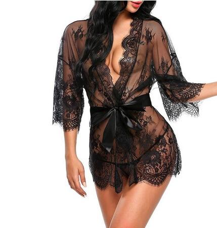 Горячее сексуальное нижнее белье, комбинация, эротическая одежда для сна, женское кружевное Прозрачное нижнее белье V-образная Пижама, хала...