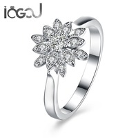 IOGOU Flowers 925 Sterling Silver Solitaire Cubic Zirconia Wholesales Ladie's Women's Finger Ring Wedding Party Girls Gift Rings