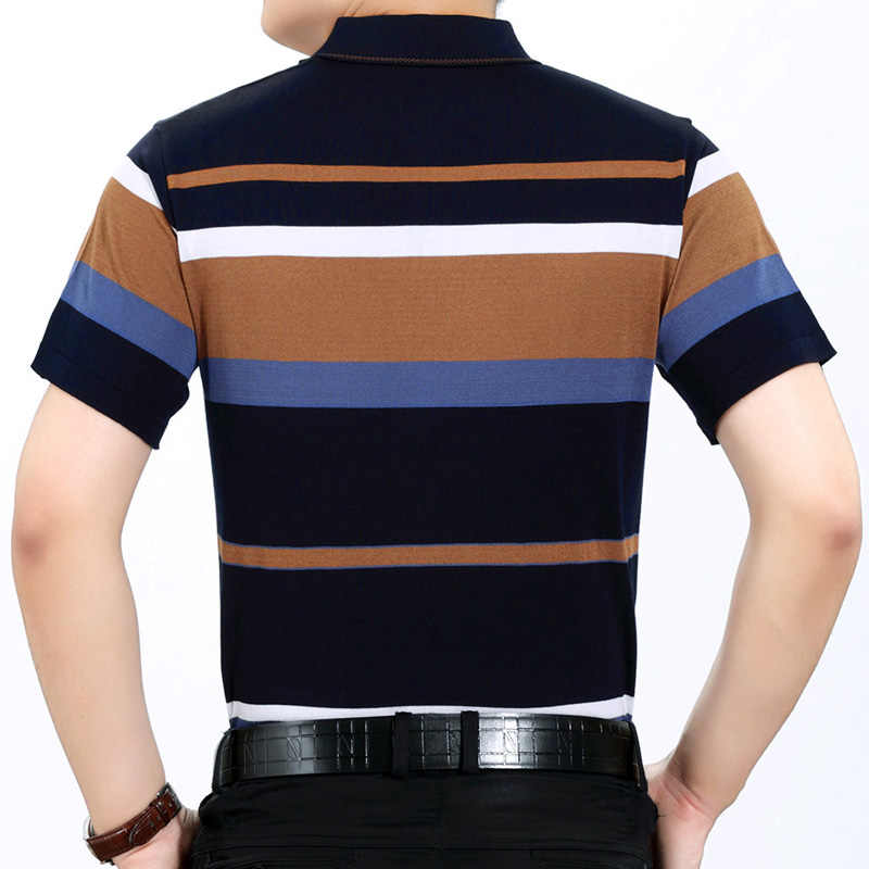 Letnia koszulka polo męska koszulka polo z krótkim rękawem w paski slim fit męska pol odzież sukienka kulturystyka streetwear poloshirt 6371