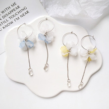 Japanese Korean trend long metal fringe flower petal drop earrings women fashion jewelry