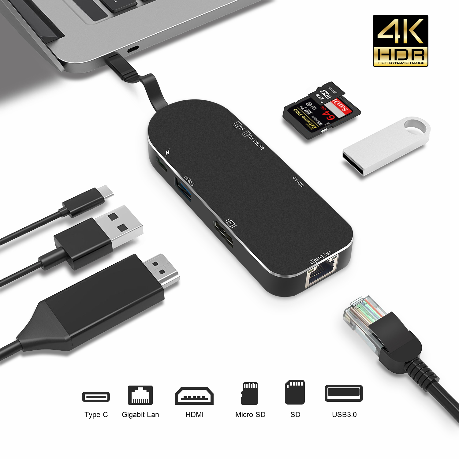 USB C Type-C to USB 2.0 Hub TF SD Card Reader Adapter Micro USB For MacBook