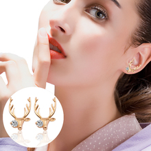 Fashion Simple Elk Animal Earrings Personality Golden Crystal Antlers Short Students Daily Jewelry Christmas Gifts