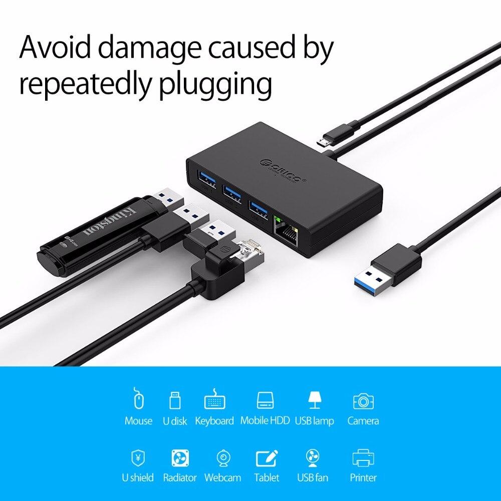ORICO USB3.0+Gigabit Ethernet Port HUB Mini Hub For Desk,Ofiice,Home USB3.0 Hub