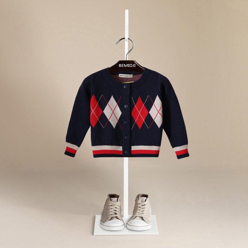 Children sweater 2017 Autumn Cotton knitted Lattice Pattern Boy Sweater Cardigan Kids Baby Clothes Toddler Girls