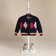 Enfants chandail 2017 Automne Coton tricoté Treillis Motif Garçon Pull Cardigan Enfants Vêtements de Bébé Toddler Filles Pull Top