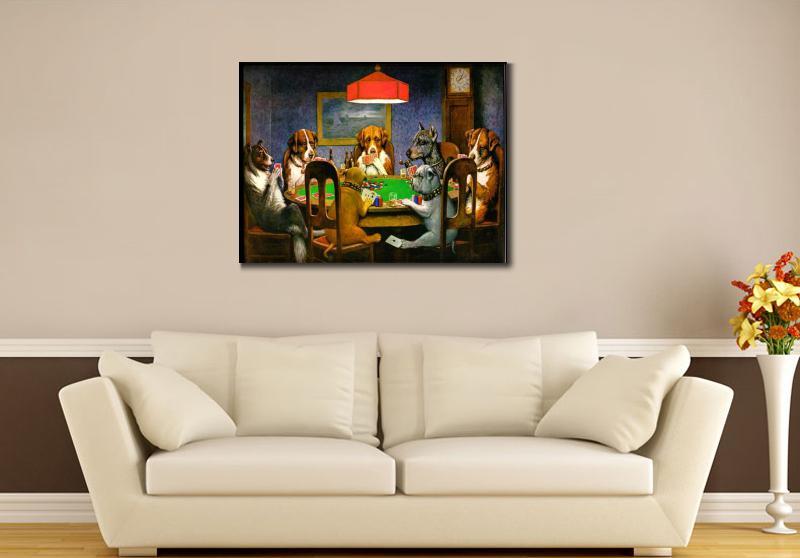 Կտավ արվեստի յուղաներկ շներ Playing Poker by - Տնային դեկոր - Լուսանկար 6