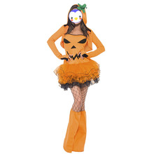 New Pumpkin Girls Halloween Pumpkin Costumes Adult Sexy Cosplay Dress Carnival Party Performers Wear Female Theme Costume Dress