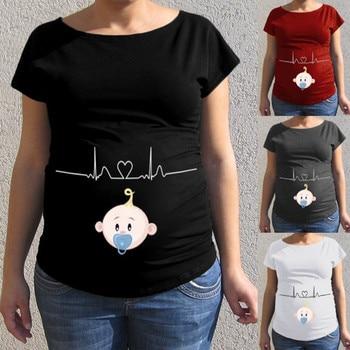 ed33d1fc3 Mujer embarazo ropa de mujer maternidad enfermería bebé patrón de dibujos  animados de manga corta Camiseta Casual embarazada Tops