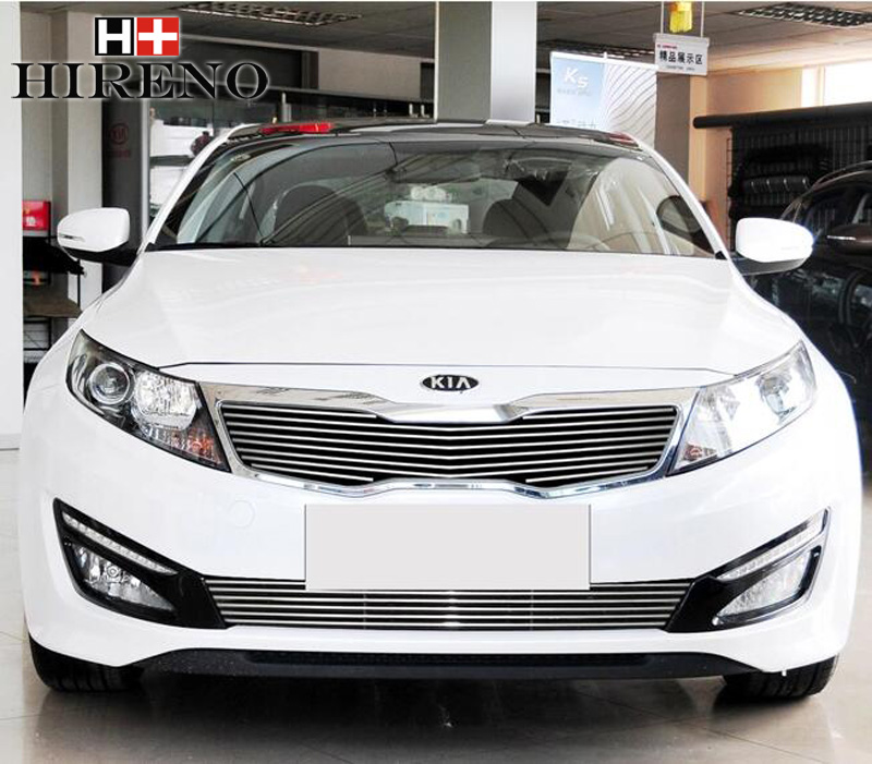 Stainless Steel Car Racing Grills For KIA Optima K5 2011-2014 Front Grill Grille Cover Trim Car styling steel racing front grille grill bezel honeycomb mesh cover trim grid for nissan qashqai 2014 2015 2016
