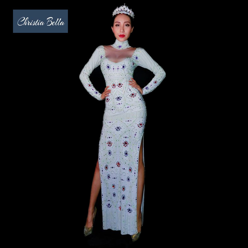Christia Bella Sexy White Pearls Women Evening Long Dress Long Sleeves  Crystals High Slit Party Dress Stage Singer Costumes-in Dresses from Women s  Clothing ... 62d997acd812