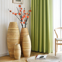 Chinese Large Bamboo Floor Vase Big Living Room Decorative Floor Vase Home Art & Craft Flower Pot Woven Retro Antique Finish