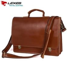LEXEB 브랜드 전체 곡물 가죽 남자 서류 가방 매일 메신저 가방 적합 12.9 iPad 남자 가방에 대 한 높은 품질의 작은 가방 브라운