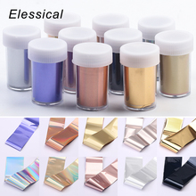 ELESSICAL Matte Gold Silver Rose Gold Starry Sky Nail Foils Stickers Nail Transfer Decal DIY Manicure Nail Decoration new 1pack 10 colors starry sky nail foils rose gold 2 5 100 cm sheet diy nail decor manicure nail art transfer stickers nz06 4h