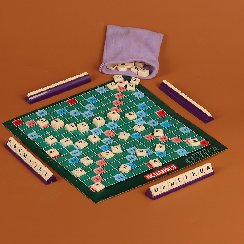 Scrabble Board Game English Crossword Spelling Game For Kids Family 104-Letters Indoor G ...