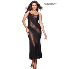 HOT 2018 Women sexy lingeie female see-through long slip dress ladies intimate lace slips Plus 6XL