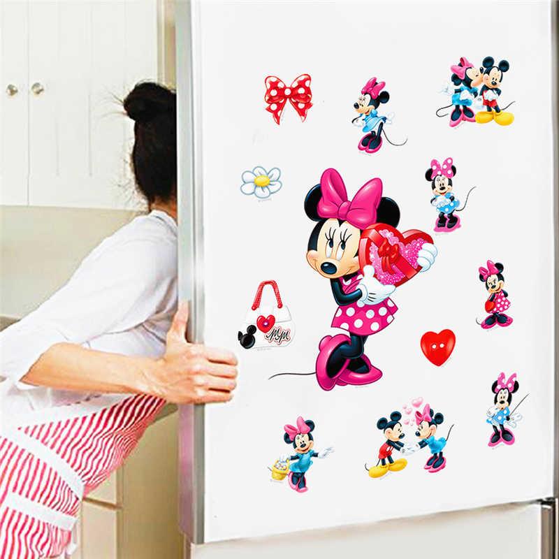 Pegatinas decorativas de pared de Mickey Mine Mouse de dibujos animados para cuarto de niños DIY regalos decoración de pared arte Ho