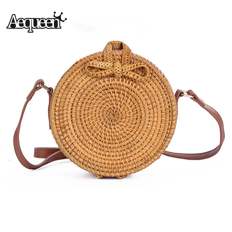 AEQUEEN Vietnam Hand Woven Bag Round Rattan Straw Bags Crossbody Bag For Women 2018 Bohemia Style Beach Circle Bag INS Popular rattan bag ins hot small round crossbody bag mesh women messenger bag hollow out floral designer straw beach bag for vacation