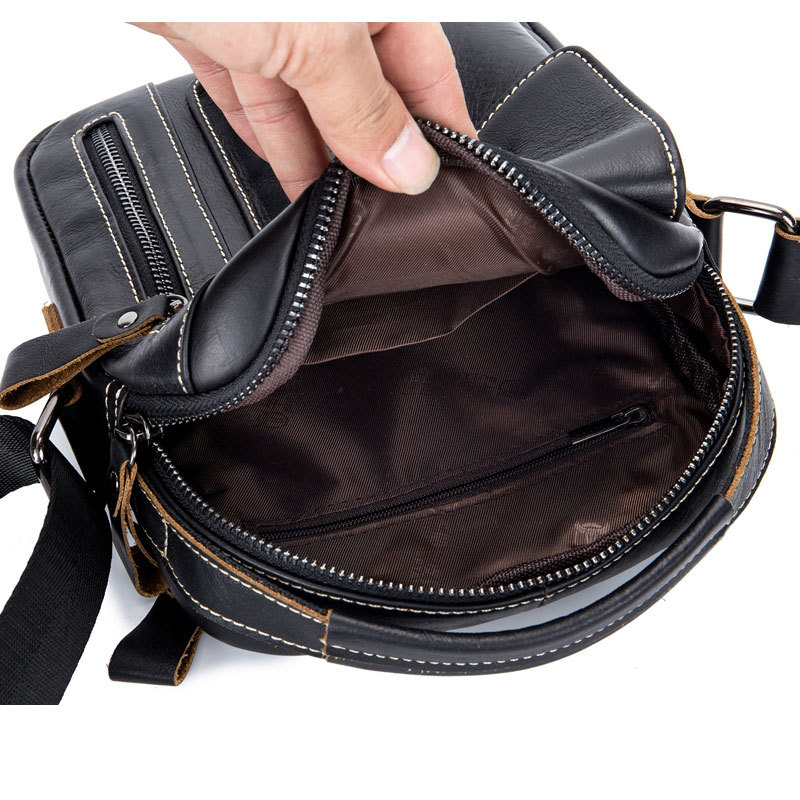 BULLCAPTAIN Genuine Leather Men Shoulder Crossbody Bags Cow Leather Fashion Handbag Brand Casual Men's Messenger Bag Black 5