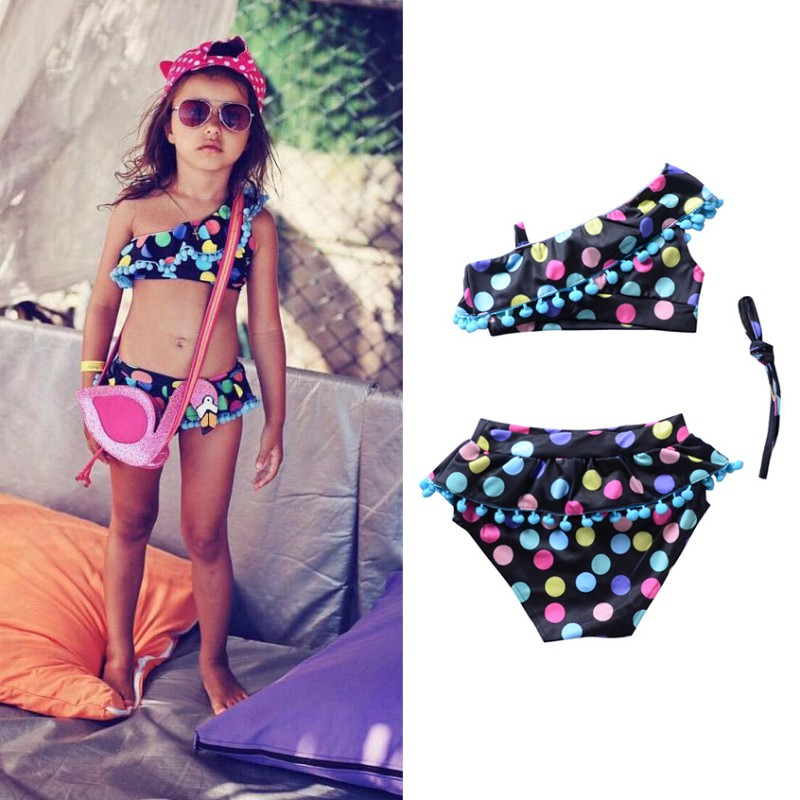2018 Hot Summer Baby Girls Swimsuit Infant Kids Off-shoulder Print Top+Colorful Pants Two-piece Children Fashion Clothes infant kids baby girls off shoulder floral tops skirt outfits sunsuit enfant children girl solid blue top print skirts 1 6y