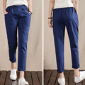 Kesebi J2FE220#8197 Female Solid Color High Waist Elastic Waist Casual Trousers Women Cotton Linen Straight Ankle-length Pants