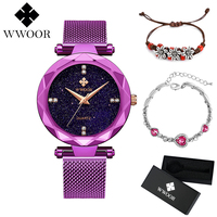WWOOR Women Dress Watches New unique design purple Luxury Brand Ladies Bracelet Quartz Watch Stainless Steel Mesh Band Casual