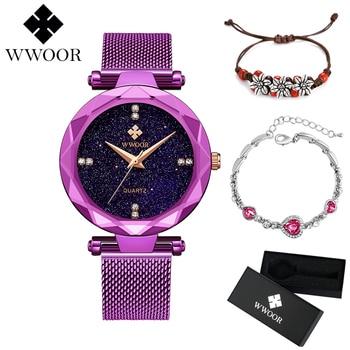 a89cd9ae0869 WWOOR mujeres vestido relojes único nuevo púrpura de diseño de marca de lujo  pulsera de las señoras reloj de cuarzo de acero inoxidable de malla de la  banda ...