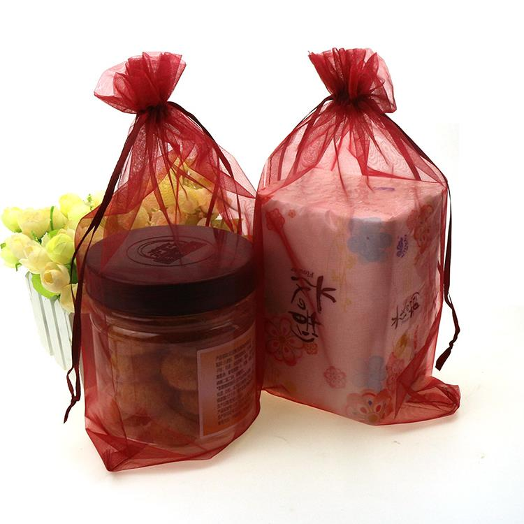 20x30cm Deep Red Color Organza Jewelry Bags Packaging Bags For Jewelry Weeding Customized Printed Logo Bags 500pcs/lot Wholesale
