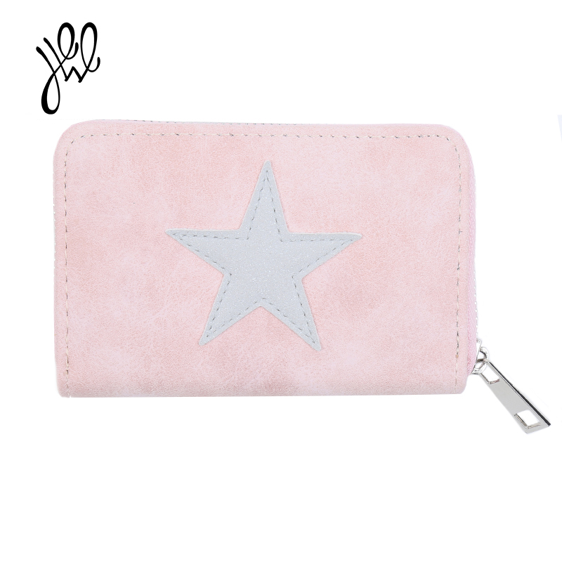 Lovely Short Women Wallets PU Leather Star Pattern Wallet For Girls Brand Lady Purses Small Gift Card Holder Coin Purse 500859