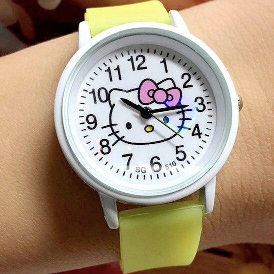 Hello Kitty Cute Children Watches Cartoon Straps Baby Clocks Girls Boy Pink Reloj Enfant Ceasuir Pupil Dress Saats