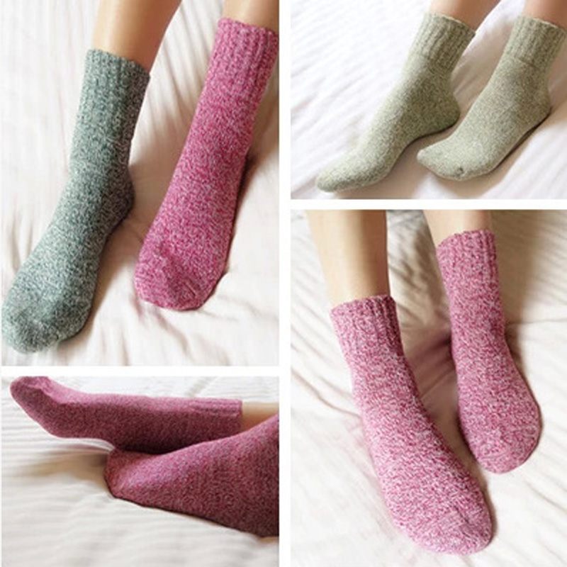 5 Pairs/lot Autumn winter thick wool socks women brand socks lovely sock warm soft solid color casual socks winter HO934565